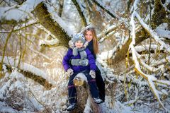 Happy in the snow wood stock photography