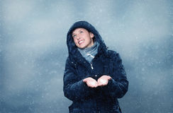 Happy about snow Stock Photography