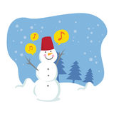Happy snowball singing. Vector illustration of happy snowball singing Vector Illustration