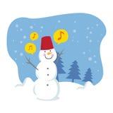 Happy snowball singing Royalty Free Stock Photo
