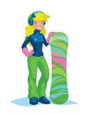 Happy snowboarder girl holding a snowboard. Happy snowboarder girl in snowborder equipement and helmet with glasses holding her snowboard. Blonde young girl Stock Photography