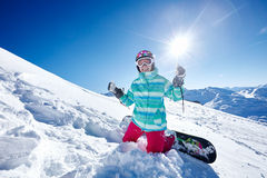 Happy snowboarder on piste Royalty Free Stock Photography