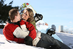 Happy Snowboarders Couple  Royalty Free Stock Photography