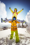 Happy snowboarders having fun on the mountain royalty free stock photography