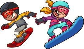 Happy snowboarding boy and girl Stock Photos