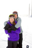 Happy Snowboarding Couple Royalty Free Stock Images