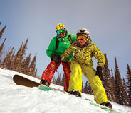 Happy snowboarding  couple Stock Photography