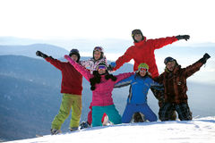 Happy snowboarding team Royalty Free Stock Photo