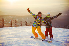 Happy snowboarding team Royalty Free Stock Photography