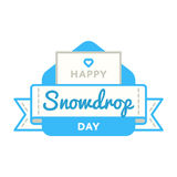 Happy Snowdrop day greeting emblem. Happy Snowdrop day emblem isolated vector illustration on white background. 19 april global floral holiday event label Stock Photos