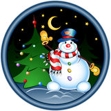 Happy snowman. Jolly snowman in a forest. Greeting Cards vector illustration