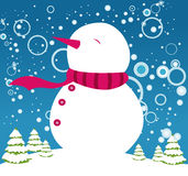 Happy snowman. A happy snowman enjoying the showering of the season Stock Image