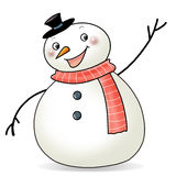 Happy Snowman. Smiling and greeting to everyone Royalty Free Stock Images
