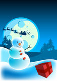 Happy Snowman. A happy snowman on Christmas eve Royalty Free Stock Images