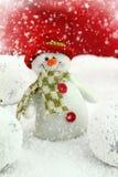 Happy snowman. On the snow Stock Image