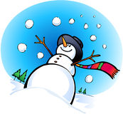 Happy Snowman. With hands up Stock Photo