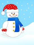 Happy snowman. On winter background Stock Image