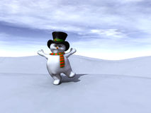 Happy snowman. A happy snowman dancing with snow falling around him Stock Photos