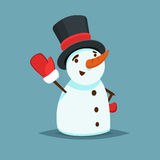 Happy Snowman in black hat and red mitten vector icon flat helper or game character Royalty Free Stock Images