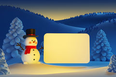 Happy snowman with blank poster Royalty Free Stock Photography