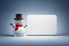 Happy snowman and blank poster Royalty Free Stock Image