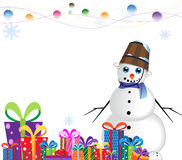 Happy snowman in a blue scarf Stock Photography