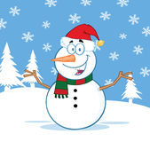 Happy Snowman Cartoon Character With Open Arms Stock Photo