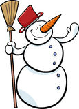 Happy snowman cartoon illustration Royalty Free Stock Image