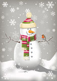 Happy Snowman. A happy snowman with a chirping robin in a snowy landscape Royalty Free Stock Photo