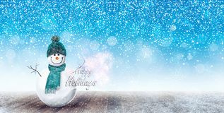 Happy Snowman Christmas background. 3D Rendering Stock Image