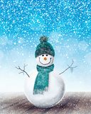 Happy Snowman Christmas background. 3D Rendering Stock Photo