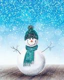 Happy Snowman Christmas background Stock Photo