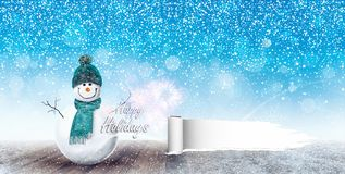 Happy Snowman Christmas background. 3D Rendering Royalty Free Stock Image