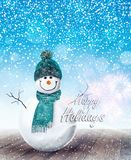 Happy Snowman Christmas background Stock Images