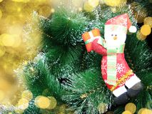 Happy snowman christmas background with snow and snowflakes Stock Photography