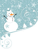 Happy snowman, christmas card. Vector illustration Stock Photography
