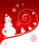 Happy snowman, christmas card. Vector illustration Royalty Free Stock Photography