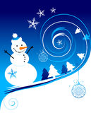 Happy snowman, christmas card. Vector illustration Royalty Free Stock Image