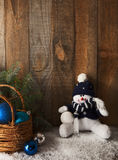 Happy snowman and Christmas decoration Stock Photos