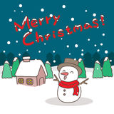 Happy snowman with christmas. Great for your design Stock Photo