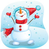 Happy snowman. Christmas illustration. Stock Images