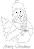 Happy snowman with christmas tree Stock Photo