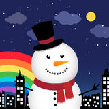 Happy snowman in the city at night Royalty Free Stock Image