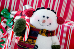 Happy snowman close up Stock Photo