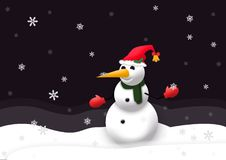 Happy snowman enjoying the snowing. Happy snowman with big orange nose enjoying the snowing and the big snowflakes in the white snow during winter Royalty Free Stock Photography