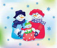 Happy snowman family Stock Photography