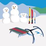 Happy snowman family Stock Photos