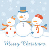 Happy snowman family Stock Photo