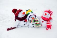 Happy snowman family Royalty Free Stock Image