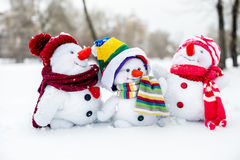 Happy snowman family Stock Image